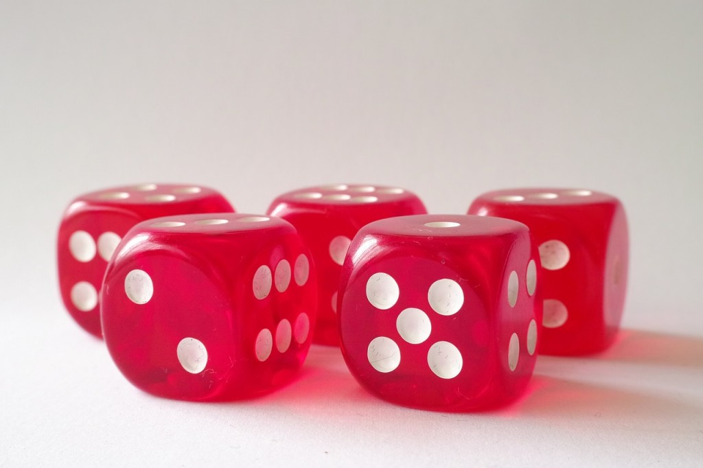 five red and white dice
